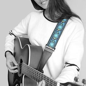 ギター ストラップは5cmで、レザーエンドがあり、長さも89cm-151cmの調節ができる エレキギ...