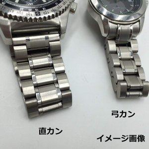 3連 ステンレス 無垢 サイドプッシュ式 腕時計 交換 ベルト 時計バンド バネ棒 付 (04,弓カン 22mm)|shop-frontier