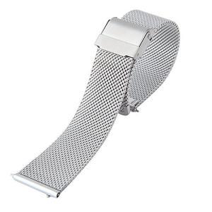 Best Master 腕時計 ベルト ミラネーゼ メッシュ ブレス ステンレス スライド式 バネ棒加工 ワンタッチで装着 クロス付属 ダニ shop-frontier