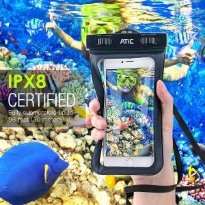 ATiC 6.0インチ以下用透明防水ケース 首掛け式 ストラップ付き 防水保護等級IPx8 iPho...