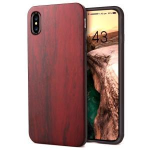 iPhone Xs ケース iPhone X/iPhone 10 ケース ローズウッド木製 ハードケース ワイヤレス充電対応 スマホケース|shop-frontier