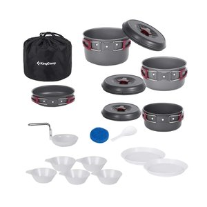KingCamp キャンプ クッカーセット 鍋 セット アルミ 4~6人用 調理器具 収納袋付き B...