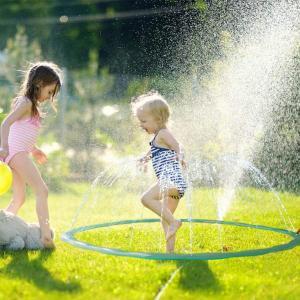 スプリンクラー スプラシュリング 2M直径噴水リング子供用 水遊び プール 噴水のように吹き上がる 子供が喜ぶ猛暑のおもちゃ コンパクトに収|shop-frontier