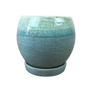淡いブルーのグラデーションが素敵な植木鉢。上部分はクリアの釉薬がかかって光沢があり、下部分はマットな...