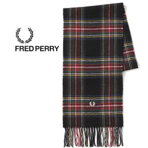 フレッドペリー マフラー タータンチェック ウール FRED PERRY [ C4113 ] TARTAN SCARF (102) BLK   [1201]|shop-hood