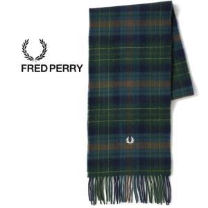 フレッドペリー マフラー タータンチェック ウール FRED PERRY [ C4072 ] TARTAN SCARF (608) NVY [1201]|shop-hood