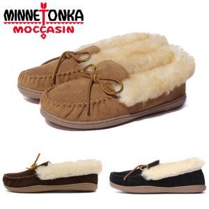 ミネトンカ モカシン レディース シープスキン スウェード 黒 ブラック ベージュ 茶 ダークブラウン ムートン アルパイン シープスキンモカシン 靴 MINNETONKA|shop-kandj