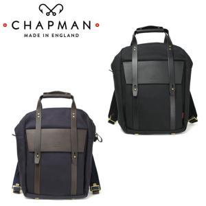 チャップマン リブルリュックサック メンズ バッグ 黒 ブラック 紺 ネイビー 2WAY 手持ちバッグ リュック バックパック イギリス製 キャンバス レザー|shop-kandj