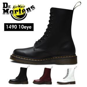 ドクターマーチン Dr.Martens 1490 10ホール レースアップ シューズ ブーツ メンズ レディース ブラック チェリーレッド ホワイト CORE 1490 10EYE|shop-kandj