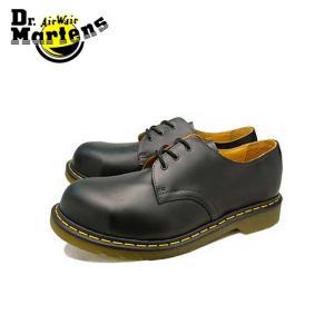 ドクターマーチン Dr.Martens 3ホール ブラックファインヘアセル イエローステッチ スチールトゥ ローカット ブーツ メンズ レディース|shop-kandj