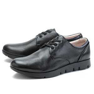 フィットジョイ FIT JOY FJ-021 オールブラック レザーシューズ スニーカー レディース ウォーキングシューズ 軽量 シープスキン 旅行用 靴 おしゃれ|shop-kandj