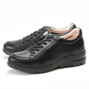 フィットジョイ FITJOY FJ-033 オールブラック 黒 スニーカー レディース ウォーキングシューズ 軽量 レザーシューズ シープスキン 旅行用 靴|shop-kandj