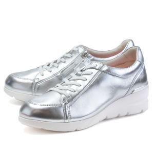 フィットジョイ FITJOY FJ-033 シルバー メタリック 銀 スニーカー レディース ウォーキングシューズ 軽量 レザーシューズ シープスキン 旅行用 靴 おしゃれ shop-kandj