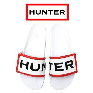 ハンター オリジナル アジャスタブル スライド レディース サンダル スリッパ ロゴ ホワイト HUNTER Original Adjustable Slides WFD4018EVA-WHT|shop-kandj