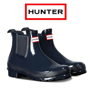 ハンター オリジナル グロス チェルシーブーツ レディース レインブーツ 防水 撥水 天然ラバー ネイビー HUNTER Original Gloss Chelsea Boots WFS1043|shop-kandj