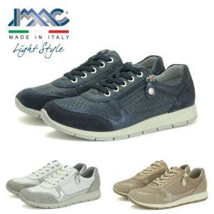 イマック IMAC 106860 スニーカー レディース 白 ホワイト ベージュ 紺 ネイビー ジップ付き 靴 シューズ レースアップ WHITE BEIGE NAVY 143039|shop-kandj