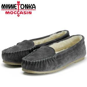 ミネトンカ ケイ ベネチアン スリッパー モカシン ムートン ボア ローファー チャコール レディース 靴 minnetonka|shop-kandj
