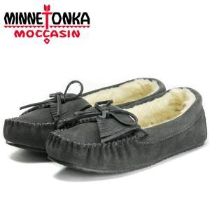 ミネトンカ キルティ トラッパー スリッパー モカシン ムートン ボア ローファー チャコール レディース 靴 MINNETONKA|shop-kandj
