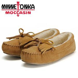 ミネトンカ キルティ トラッパー スリッパー ムートン ボア ローファー シナモン レディース 靴 MINNETONKA|shop-kandj