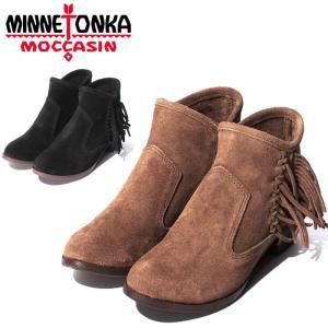 ミネトンカ ブーツ ブレイク レディース ショートブーツ サイドジップ スウェード ブラック 黒 ブラウン 茶 靴 ウェスタン ブーティ ヒール MINNETONKA BLAKE|shop-kandj