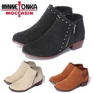 ミネトンカ ブーツ ブリー レディース ショートブーツ サイドジップ スウェード ブラック 黒 ブラウン 茶 ベージュ 靴 スタッズ ブーティ ヒール MINNETONKA|shop-kandj