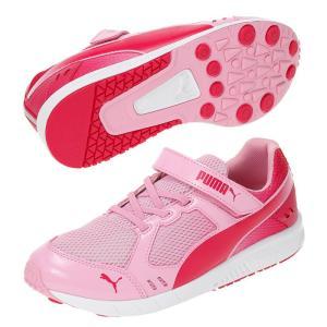 プーマ スピードモンスター V3 キッズ 子ども用 スニーカー 靴 体育 運動靴 運動会 ランニングシューズ マジックテープ ピンク PUMA SPEED MONSTER V3 190266-04|shop-kandj