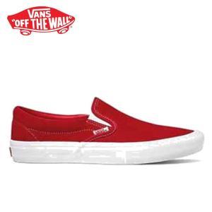 バンズ スリッポン プロ スニーカー メンズ レディース ローカット スケートシューズ レッド 赤 VANS SLIP-ON PRO (SUEDE) RED/WHITE VN0A347VAJL shop-kandj
