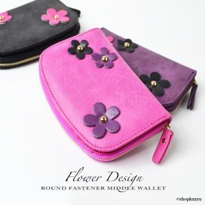 二つ折り財布 レディース 花柄 ラウンドファスナー ショートウォレット SY-615|shop-kazzu