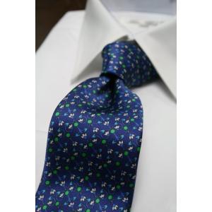 シルビオ・フィオレッロ【Silvio Fiorello】ネイビーベースに幾何学模様風の花柄(ブルー×グリーン)|shop-kinkodo