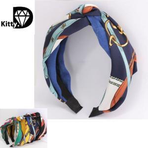 「スカーフ プリント カチューシャ 」4色  同柄のヘアバンドタイプもございます。  ・ブランド:ノ...