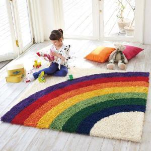 お子様のお部屋に!レインボー柄ラグカーペット TOR-3620(3465) 150x150cm【ラグ/子供部屋】|shop-kyoto