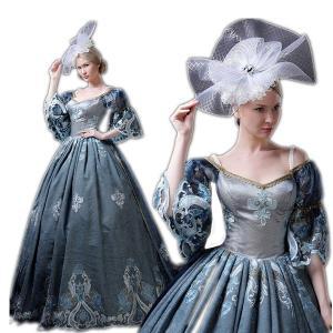 豪華な女王 ロングドレス ヴェルサイユ 風 ドレス ヨーロッパ貴族風 お姫様ドレス 公爵夫人 貴族服 舞台 衣装 ステージ ハロウィン shop-manten