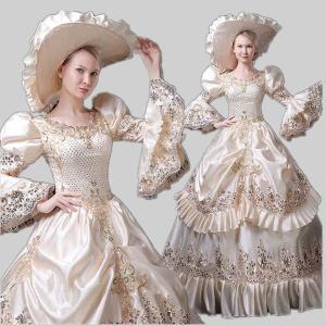 中世 貴族 衣装 豪華ロングドレス ステージとしても最適 人気お姫様ドレス レース 公爵夫人 貴族服 髪飾り付き お姫様ドレス 舞台ステージ shop-manten