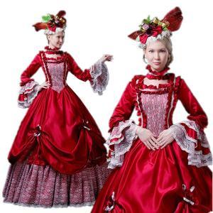 女性用 ヨーロッパ貴族の 衣装 仮装 中世貴族風 ロングドレス レッド 9分袖 貴族 お嬢様 舞台 貴族服 復古 ハロウィン 着丈&サイズ指定可 shop-manten