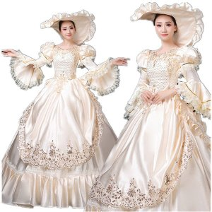 豪華ロングドレス ステージ 衣装としても最適 人気お姫様ドレス 公爵夫人 貴族服 舞台ステージ演劇 中世 カラードレス 着丈&サイズ指定可 shop-manten