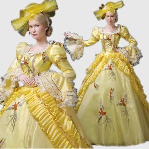 豪華ロングドレス ステージ 衣装としても最適 ロングドレス 女性用 西洋 貴族の フランス式 学園祭 文化祭 ハロウィン 着丈&サイズ指定可 shop-manten