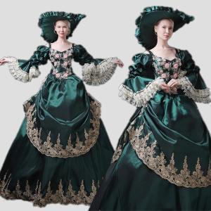 ダークグリーン 欧風 貴族服 女性用 西洋 貴族の 衣装 ロングドレス ステージ パレード 余興に ハロウィン 着丈&サイズ指定可 shop-manten