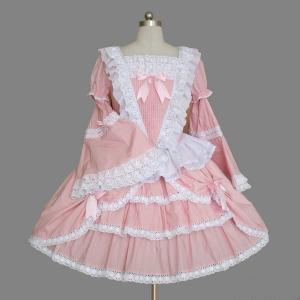 ゴスロリ ロリータ ワンピース パンク ゴシック 宮廷ドレス パーティードレス ピンク ブラック ショート丈 小さいサイズ 大きいサイズ|shop-manten