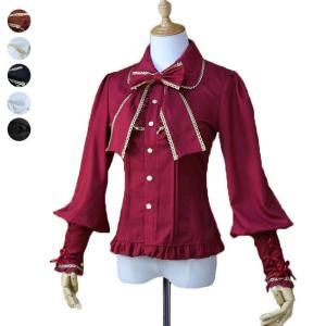 ゴスロリ ロリータ シャツ リボン付き 6color パンク ゴシック 宮廷風 可愛い 宮廷服 学園祭 文化祭 舞踏会 パーティー 演奏会 披露宴 現代劇|shop-manten