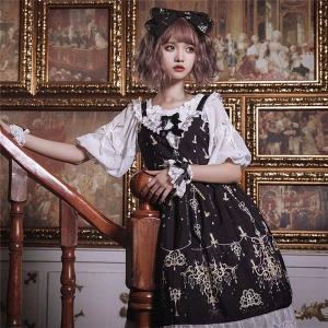 ロリータ ワンピース ゴスロリ メイド 黒 ワンピース ゴシック コスプレ コスチューム 衣装 パニエ 髪飾り 上着追加可 ハロウィン クリスマス|shop-manten