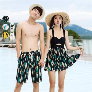 ペアルック レディース メンズ カップル 水着 海パン ショートパンツ 速乾 韓国風 体型カバー 大人 夫婦 恋人 ワンピース|shop-manten