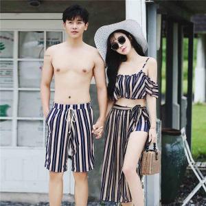 ペアルック レディース メンズ カップル 水着 海パン ショートパンツ 速乾 韓国風 体型カバー 夫婦 恋人 彼女 ビキニ 3点セット|shop-manten