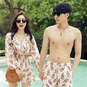 ペアルック レディース メンズ カップル 水着 海パン ショートパンツ 速乾 韓国風 体型カバー 大人 女性用 ビキニ 3点セット|shop-manten