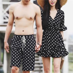 ペアルック レディース メンズ カップル 水着 海パン ショートパンツ 速乾 韓国風 体型カバー 女性用 ビキニ 3点セット 水玉柄|shop-manten