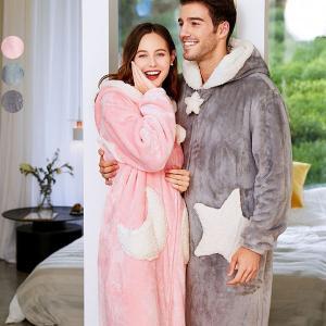 パジャマ カップル ペアルック ルームウェア もこもこ 長袖 部屋着 3カラー 2タイプ 星柄 月柄 男女兼用 ペア ギフト 結婚祝い 裏起毛|shop-manten