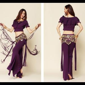 フリーサイズ/ ダンス 衣装スーツ ベリーダンス 2点セット/ 豪華ステージ 舞台スーツ 練習用セットdm002zezex0|shop-manten