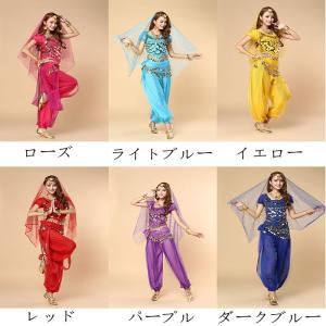 ベリーダンス ヒップスカート ベール 演出スーツ 練習用4点セット 全6色可選 衣装4点セット ブラトップ ヒップスカーフ スカートスーツdm003zezex0|shop-manten