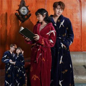 パジャマ ナイトガウン ペア 鶴柄 長袖 もこもこ ルームウェア 着る毛布 ペアナイトガウン暖かい 前開き 裏起毛 可愛い 部屋着 結婚祝い プレゼント|shop-manten