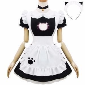 メイド服 コスプレ衣装 ネコ メイド アリス風 コスプレ 胸元 セクシー ハロウィン フリル レディース コス ワンピース ヘアバンド|shop-manten