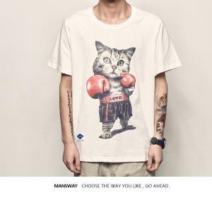 猫 猫柄 Tシャツ 半袖 メンズ かわいい  トップス イラスト ねこ プリント アメショー  個性的  ユニーク 大人 ペアルック お揃い プレゼント 春夏 カジュアル|shop-momo
